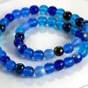 Pärlor Druks Blå Mix 6mm